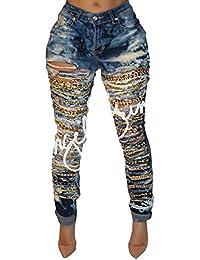 Femme Vintage Skinny Denim Jeans Déchirés Slim Pantalons Crayon Pants  Stretch ... 8990d108354f