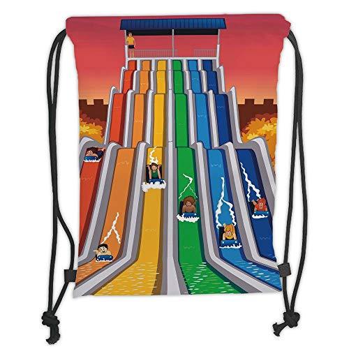 LULUZXOA Gym Bag Printed Drawstring Sack Backpacks Bags,Kids Room Decor,Children Having Fun Playing on Water Slides in Park Summer Holiday Activity,