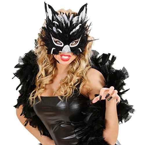 NET TOYS Katzenmaske Feder Maske silber-schwarz Katze Halbmaske Augenmaske Federmaske Kostüm Zubehör (Erwachsene Für Maske Katze)