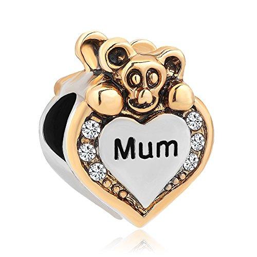 """Uniqueen, ciondolo a forma di cuore per braccialetto, con scritta in lingua inglese """"i love you"""", con diamante artificiale trasparente e base metal, cod. dpc_yc25"""