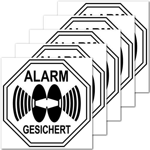 Preisvergleich Produktbild Aufkleber Sticker 5cm Alarm gesichert für Außenseite Balkon Scheibe Fenster Rahmen Rolladen (5)