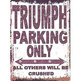 20,3x 25,4cm Triumph Parking Sign Retro Vintage Style 20,3x 25,4cm voiture Abri de jardin en métal 20x 25cm garage atelier art mural