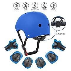 Idea Regalo - Wayin Casco Bici Protezioni Set per Bambini Regolabile Gomitiere Polso Ginocchiere per Skateboard Pattini in Linea Bicicletta Protezione Bambina (Blu Casco)