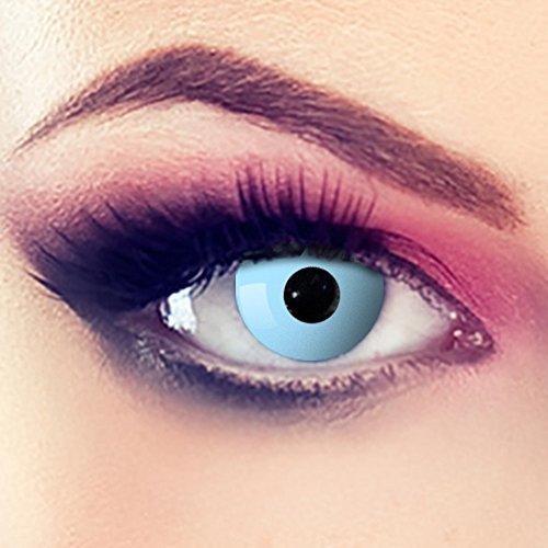 Taffstyle® Farbige Linsen crazy Fun Halloween Karneval Kostüm Kontaktlinsen Motivlinsen 3 Monatslinsen ohne Stärke Hellblau - Light Blue Eye