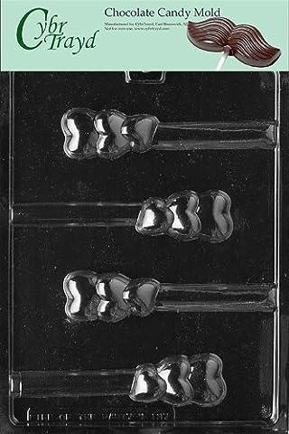 Cybrtrayd V137 Triple Heart Pretzel Valentine Chocolate Candy Mold by CybrTrayd