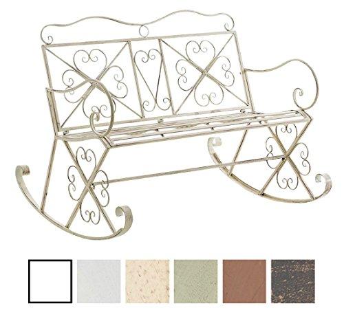 CLP Garten-Bank, 2er Schaukelstuhl SILLY, Eisen lackiert, Design nostalgisch antik, ca 120 x 45, Höhe 95 cm antik-creme