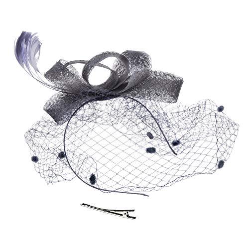 WYJHNL Fascinator-Hüte für Frauen Cocktail Mesh Kopfbedeckung mit Gabelclip, Stirnband, Schleier und Federschmuck Tea-Party-Hüte für Frauen,Silvergray