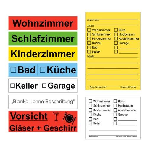 173x Umzugetiketten - Mix Set - Beschriftung mit Etiketten vom Umzugskarton bis Möbel für den Überblick beim Umzug thumbnail