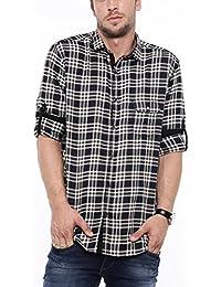 SHOWOFF Mens Brown Checks Casual Shirts
