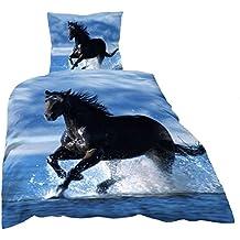 2piezas flojel cama en 135x 200cm caballo negro/azul de microfibra 11220001P–Polar (Premium Impresión)