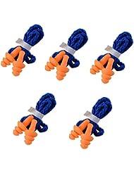 Yizhet 5 pars Tapones para Los Oídos con Cordón,arbol Soft Seguridad suave silicona Tapones auditivos Muffs Proteccion - Reutilizable (Azul)