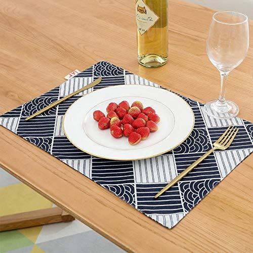ch Tischdecke Dunkelblau Westlichen Essen Matte Foto Hintergrund Tuch Serviette Requisiten Plaid Stoff Tischdecke 4 Stück @ A_Double Schicht ()