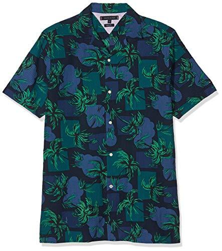 Tommy Hilfiger Herren Palm Tree Print Shirt S/S Freizeithemd, Blau (Night Sky/Multi 904), 42 (Herstellergröße: L) - Tree Print Shirt