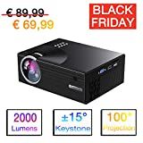 Mini Beamer LCD 2000 Lumen, Video Projektor 1080P Full HD Untertstützung, Kompatibel mit iPhone/ iPad/ Android Smartphone/ Laptop/ TV-Box, HDMI/ USB/ VGA/ SD/ AV, Heimkino Familie Unterhaltung Party