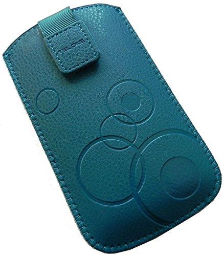 Handyschale 24 Slim Case für Doro Secure 580 Handyschale Türkis Schutzhülle Tasche Cover Etui mit Klettverschluss