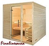 Finnline Massivholzsauna Family I 220 x 190 x 200 cm I 45 mm massiv I 4-Eck I Inkl. Saunaofen & Steuerung I Inkl. Lieferung I Saunakabine I Saunaanlage I Saunabau I Saunazubehör - 2