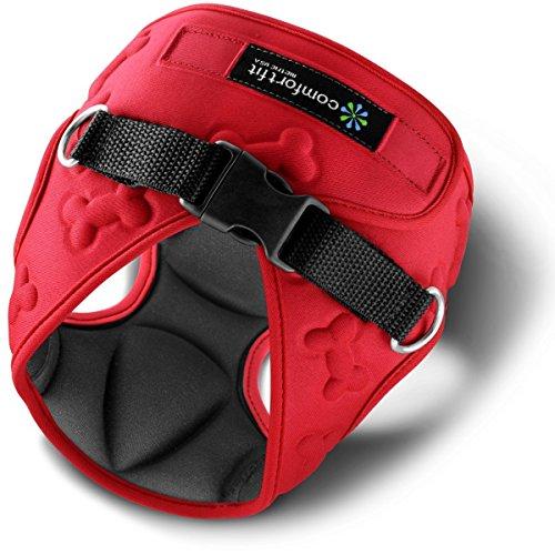Comfort Fit Hundegeschirr für kleine Hunde, weich, gepolstert, einfaches Anlegen, atmungsaktiv, leicht, flexibel, 3D Design, Größe XS, rot - Hundegeschirr Hund Knochen