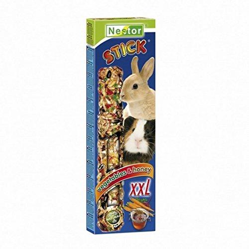 Meerschweinchen Kaninchen Futter Leckerbissen 2 Knabberstangen XXL Gemüse & Honig (Kaninchen-gemüse-sticks)