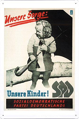 Metall Poster Platte Wand-Dekor Blechschild von German Democratic Republic - Our Concern: Our Children! SPD