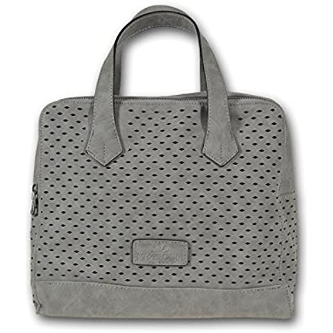 Miya Miya Bloom bolso Bowler patrón de láser y de cuero libre de 30x25x16 cm (An) Gray