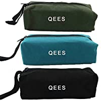 QEES Tool Bag 3 Pieces of Multi-Purpose Canvas Small Tool Pouch Electricans Organiser with Zipper 9.5L x 3.4W x 2.8H Inches for Gift (GJB05)