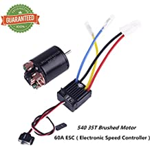 540 35T Brushed Motor with 60A ESC Carbon Brushed Shaft 3.175mm for RC Car Truck Running Off-Road Vehicle by Crazepony-UK