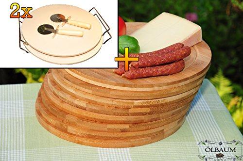 4 Stück MASSIVER ca. 2 KG Pizzastein, Heisser Stein aus Thermo-Ton KOMPLETT mit verchromter Stahlhalterung, Größe ca. 33 cm x 12 mm & 8 Stk. Schneidebrett - massive, hochwertige ca. 12 mm starke Picknick Grill-Holzbretter mit Rillung natur, dunkles Bambus, Maße rund je ca. 25 cm Durchmesser als Bruschetta-Servierbrett, Brotzeitbretter, Steakteller schinkenbrett rustikal, Schinkenteller von BTV, Brotzeitteller Bayern, Wildbrett, Wildbret,