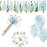 8 Teile Deko-Set Baby-Party Boy - Junge in gold & blau - 8 Teile - Baby-Party-Deko Set / Baby-Party / Geburt / Taufe Junge / Girlanden / Luft-Ballons / Streudeko / Konfetti-Shooter