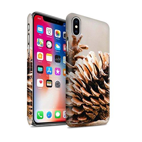 STUFF4 Matte Snap-On Hülle / Case für Apple iPhone X/10 / Baum Dekorationen Muster / Weihnachten Foto Kollektion Tannenzapfen