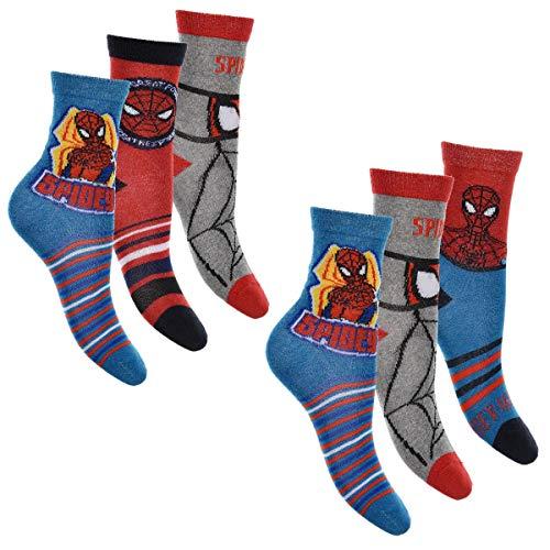 Spiderman 6er Pack Jungen Socken Strümpfe mit vielen verschiedenen Muster und Designs (Spiderman Mix 1, Schuhgröße EUR 23-26) (Herren-socken Spiderman)