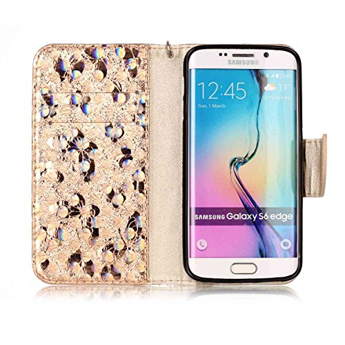 Galaxy S6 Edge Custodia, Custodia Samsung Galaxy S6 Edge G925, Samsung Galaxy S6 Edge Custodia Portafoglio Pelle, JAWSEU [Shock-Absorption] Lusso 3D Goffratura Fiore Farfalla Wallet Leather Flip Cover Farfalla, Oro