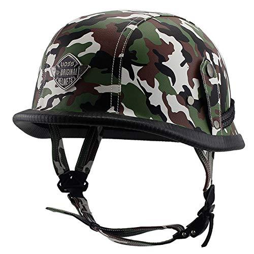 Pilot Kostüm Helm - Leder Retro Helm Style Schwarz Motorrad Integralhelm HeadBiker Pilot Camouflage 7 L