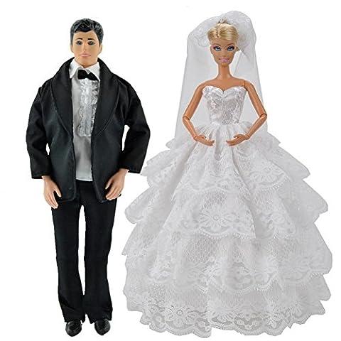 E-TING Prinzessin Hochzeit Kleid Kleid Abend Party weißer Spitze Partykleid Stickerei Barbie Puppenkleidung mit Schleier Outfit Set + formellen Anzug Outfit für Barbie-Ken-Puppe