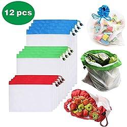 BLAZOR Sac reutilisable Fruit Legume, 【12 PCS】 Sacs à provisions pour Les Courses au supermarché, Aliments en Vrac, Fruits, légumes, etc.Ne Contient Pas de BPA.Protection de l'environnement