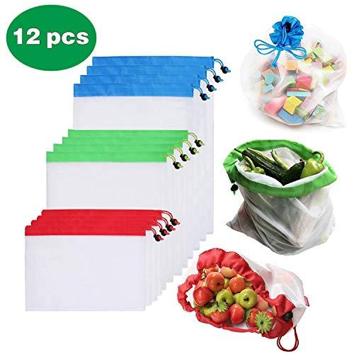 PHW Wiederverwendbare Gemüsebeutel umweltfreundliche Einkaufstaschen waschbar Einkaufsbeutel für Shopping Obst Gemüse Zero-Waste