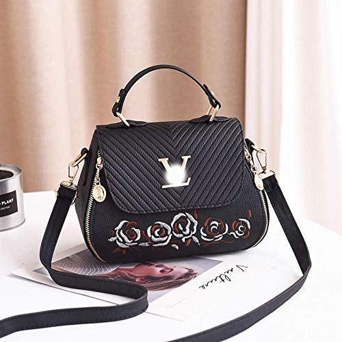 Fyyzg Korean Embroidered Fashion Damentasche Crossbody Schulter Tote - Love Without Flowers Black