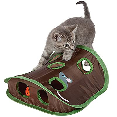 Mouse Hunt Cat Toy ANG Cat Mice Toy Hide & Seek Game Pop-up Collapsible Puzzle Exercise Toy 9 Holes Mouse Hunt with Bell-ball (Mouse hunt)