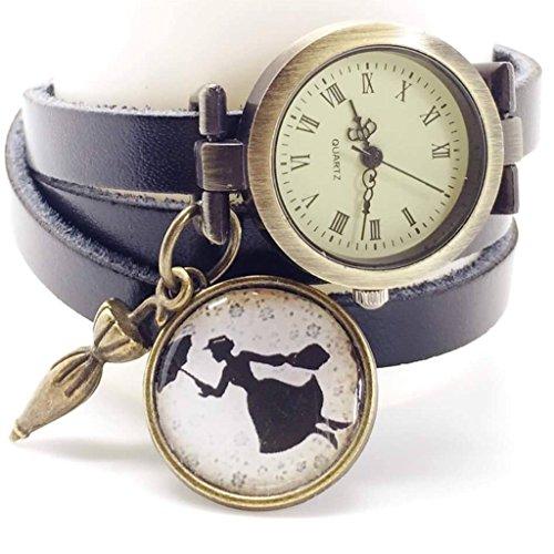 Reloj multidivisión de creación artesanal de cuero - negro - Mary Poppins -Regalo de Navidad para regalo mujer - San Valentín-