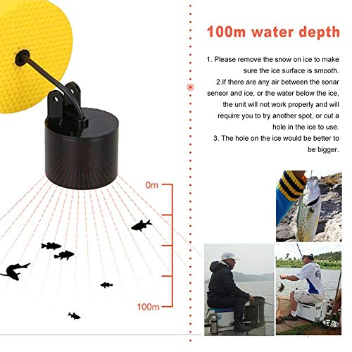 Yaoaomon Lucky 0,7-100 m tragbarer Sonarsensor LCD Fish Finder Alarm Fishfinder Transducer Schwarz & Orange -