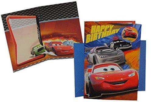 Glückwunschkarte mit Umschlag - und Ansteck Pin - Cars Karte Grußkarte Grusskarte - Disney Cars Lightning Mc Queen - 3-D Geburtstagskarte für Kinder (Happy Birthday Meine D)