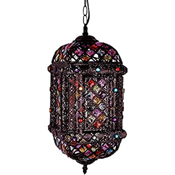 Modern Bronze Metal And Multi Coloured Patterned Moroccan Style Ceiling  Light Fitting