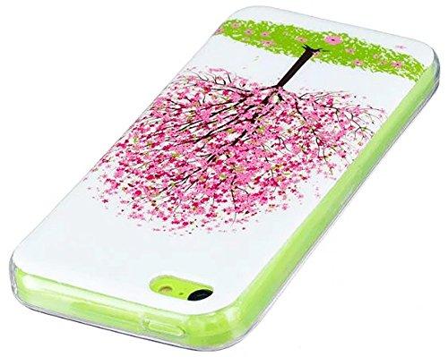 """Nnopbeclik® [Coque Iphone 5C Silicone] """"Noctilucent"""" Motif Imprimé Style Soft/Doux antichoc Backcover Housse pour Iphone 5C Coque Silicone (4.0 Pouce) Antiglisse Anti-Scratch Etui - [Papillon] cerise"""