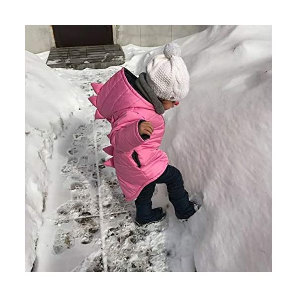 Miyanuby Abrigo de Bebé Niña Niño Dibujos Animados Dinosaurio Cremallera Invierno Cálido Chaqueta con Capucha Ropa de… 2