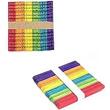 Trifycore 100 palitos de helado de madera de colores materiales de bricolaje juguetes creativos hechos a