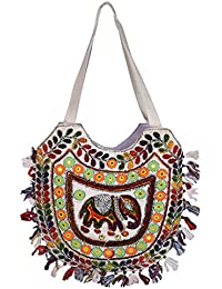 Decot Women's Cotton Elegant Floral Embroidery Hand Bag (White)