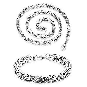 Cupimatch Königskette Herren Halskette Armband Schmuck Set Edelstahl Silber 21.65″(55cm) für Kette 22cm für Armband