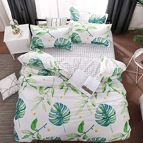 SHJIA Baumwolle pastoralen Blumen Cartoon-Stil Mode Bettwäsche Bettwäsche Bettlaken Bettbezug Kissenbezug Bettwäsche-Sets/Königin Weiß 180x220cm (Königin Bettwäsche-set Blumen -)
