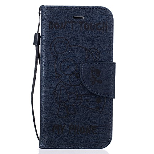 Coque iPhone 7S, Coque iPhone 7, LuckyW PU Housse en Cuir pour Apple iPhone 7 7S (4.7 pouces) Don't Touch My Phone Ours Motif Clapet Flip Folio Wallet Portefeuille Case Elegant Durable Protecteur une  Foncé
