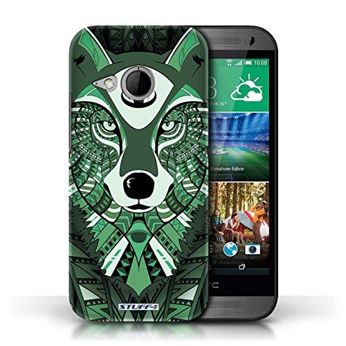 Coque de Stuff4 / Coque pour HTC One/1 Mini 2 / éléphant-Orange Design / Motif Animaux Aztec Collection Loup-Vert