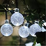 Esky Solar String Lights, (20Ft, 2 Modes, 30 LED) Solar Crystal Ball String Lights, Indoor Outdoor Globe Fairy String Lights Starry Lights, for Garden, Home, Wedding, Patio, Summer / Holiday Party (White)